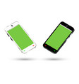 side view a smartphone with a green screen vector image vector image