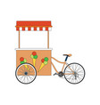 street food ice cream vendor bicycle icon isolated vector image