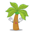 tongue out palm tree character cartoon vector image vector image