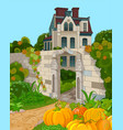 victorian house faade and pumpkins vector image vector image