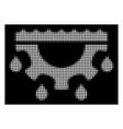 white halftone water gear drops icon vector image