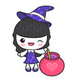 witch character and love potion halloween day vector image