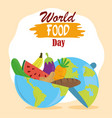 world food day planet full with fruit vegetables vector image vector image
