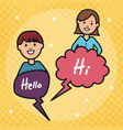 young couple with speech bubbles and hello message vector image vector image