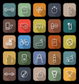 Fitness line flat icons with long shadow vector image