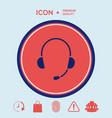 headphones with microphone icon vector image