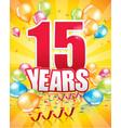 15 years birthday card vector image