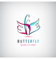 abstract linear logo butterfly business vector image vector image