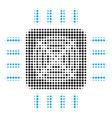 asic processor halftone icon vector image