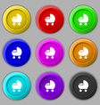 baby pram icon sign symbol on nine round colourful vector image vector image