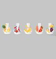 big collection fruit in a milk splash vector image vector image