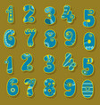 blue and yellow numbers scandinavian style vector image vector image