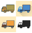 box truck icon set in flat and line styles vector image vector image
