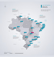 brazil map with infographic elements pointer marks vector image vector image