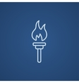 Burning olympic torch line icon vector image