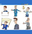 cartoon funny businessmen characters set vector image vector image