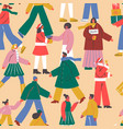christmas diverse people crowd seamless pattern vector image vector image