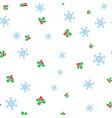 christmas mistletoe and snowflake seamless pattern vector image