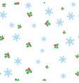 christmas mistletoe and snowflake seamless pattern vector image vector image