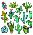 colorful set of funny cactus characters vector image