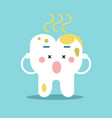 cute cartoon tooth character with remnants of food vector image vector image