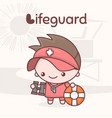 cute kawaii characters alphabet professions vector image