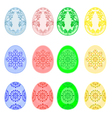 Decorated Easter eggs set with ornamental pattern vector image