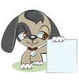 Dog holding a blank sheet of paper vector image vector image