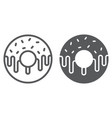 donut line and glyph icon sweet and tasty vector image vector image