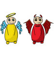 drawn colored angel and devil vector image vector image