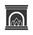 fireplace merry christmas icon set solid design vector image vector image