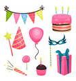 flat birthday party elements triangle vector image vector image