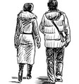 freehand drawing couple citizens walking vector image