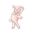 funny dancing pig with a bow vector image vector image