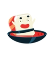 Funny Maki Sushi Character Bathing In Soup Bowl vector image vector image