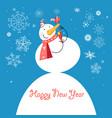 funny snowman with a bird vector image vector image