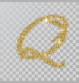 gold glitter powder letter q in hand painted style vector image