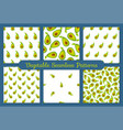 green avocado vegetable seamless pattern set vector image