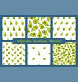 green avocado vegetable seamless pattern set vector image