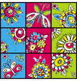 hand draw flowers in color squares vector image vector image