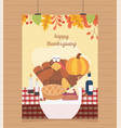 happy thanksgiving poster hanging turkey pumpkin vector image vector image
