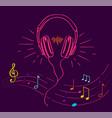 headphones performing loud sounds doodles vector image