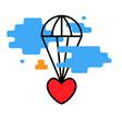 heart flies parachute icon trendy vector image vector image