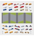 Heavy trucks parking lot constructor vector image vector image