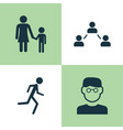 human icons set collection of network running vector image vector image