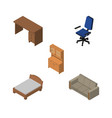isometric design set of cupboard office couch vector image vector image