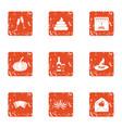 jest icons set grunge style vector image