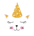 little cute cat with party festive cap for card vector image