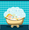 little girl is taking a bath lots of bubbles and vector image vector image