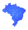map of brazil with blue watercolor vector image vector image